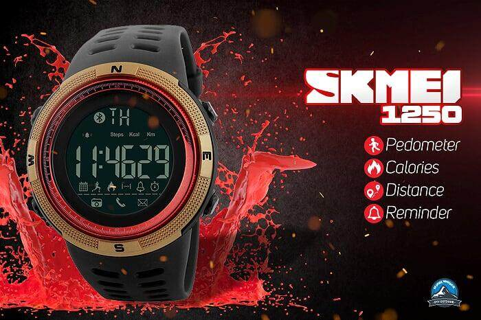 [LOCAL DELIVERY] SKMEI 1250 Smart Watch Sport Watch Waterproof Watch for Outdoor Activities - RED GOLD