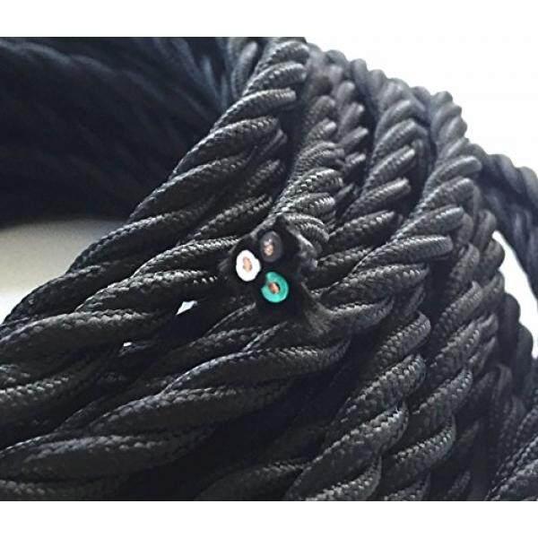 25 Kaki Hitam Twisted Kawat Berlapis Kain, 3-Konduktor 18-Gauge Antik Bahan Industri Kabel Listrik Kabel gaya Antik Kawat Lampu Helai UL Terdaftar