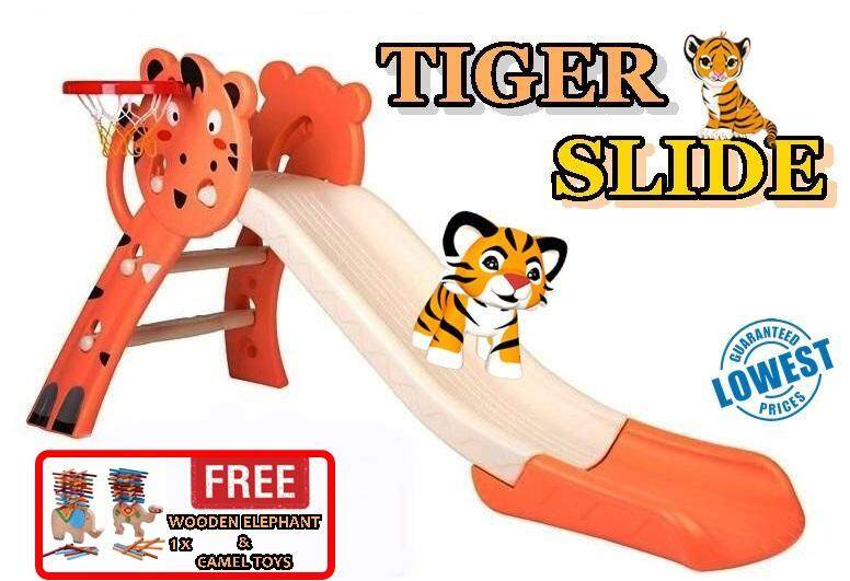 OUTDOOR KIDS TIGER SLIDE +  FREE 1 PCS WOODEN ELEPHANT & CAMEL TOYS