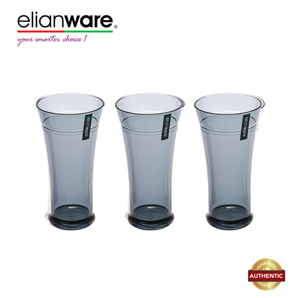 Elianware 550ml x 3 Pcs Unbreakable Curvy Fashionable Transparent Cup Set