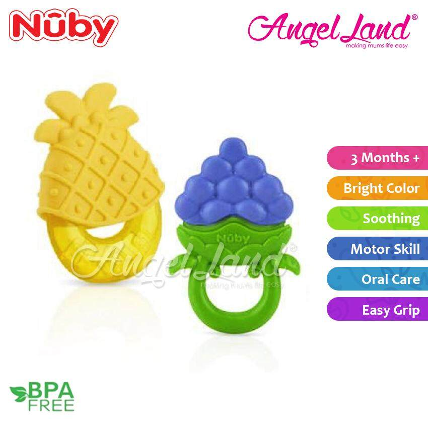 Nuby Teether Set (2pcs) NB564 - Fruity Chews Teether + Teether with Sleeve NB564