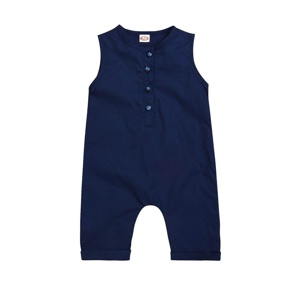 9dc4563e1 Newborn Infant Baby Boys Girls Romper Solid Sleeveless Jumpsuit Outfits  Clothes