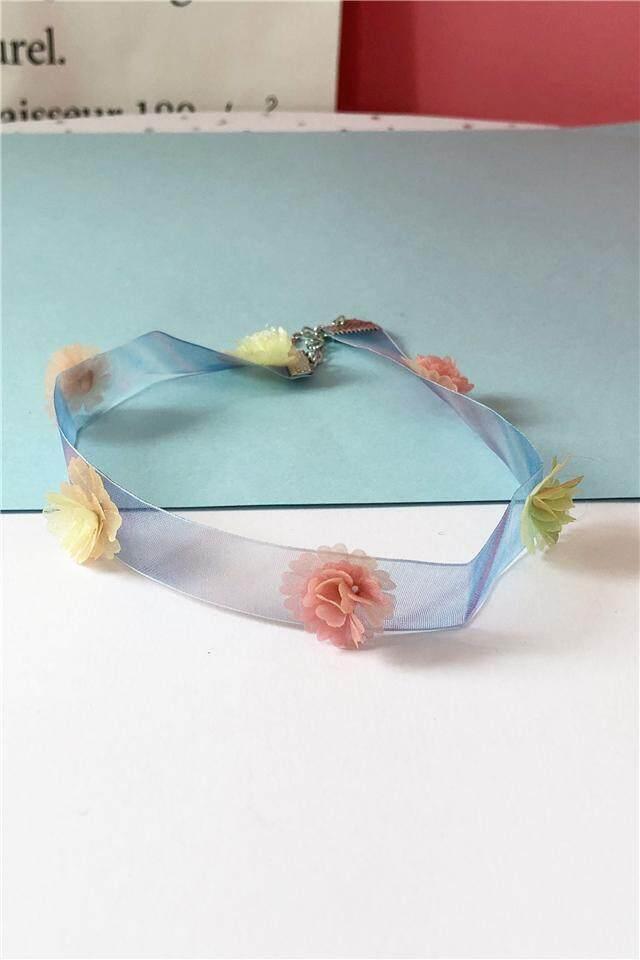 【Bunga biru tiga dimensi】Yang kedua minus 2 pemilik asli tangan membuat departemen biru kisi segar keluarga terkenal angin bunga tiga dimensi kain jala tipis rantai klavikula pendek kalung