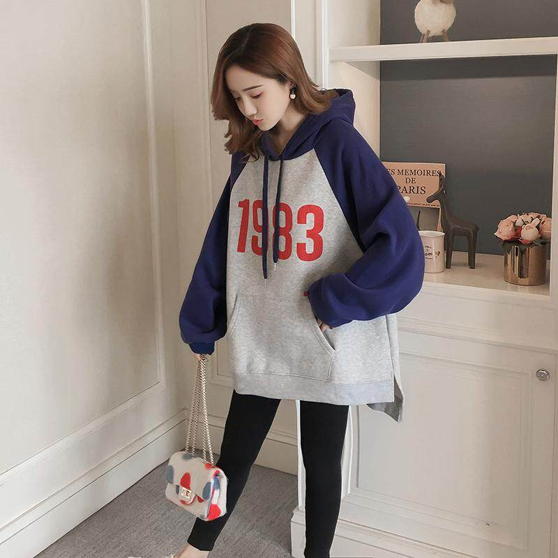 9ab82bfbee9 Pregnant Women Autumn Winter Korean Printed Velvet Thickened Long Sleeved  Hooded Maternity Sweater