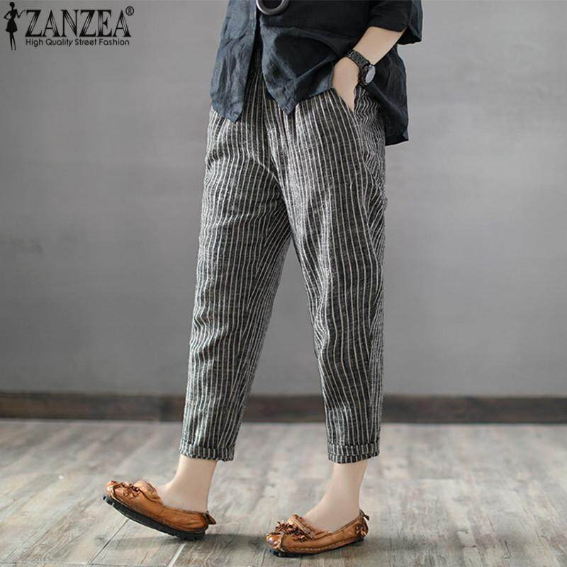 a2c1cb1f5f9 ZANZEA Women Plus Size Pants Striped Office OL High Waist Pencil Trousers -  intl