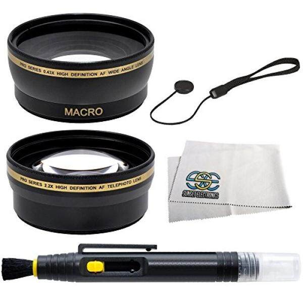 SSE 58mm Wide Angle & Telephoto Lens Kit for CANON REBEL EOS DSLR Cameras (Including SL1 T6s T6i T5i T4i T3 T3i T2i T1i XT XTi XSi 60D 7D 70D 6D 5D Mark III with 58mm lenses). Includes: 0.43X Super Wide Angle (with Macro) High Definition Lens, 2.2X T