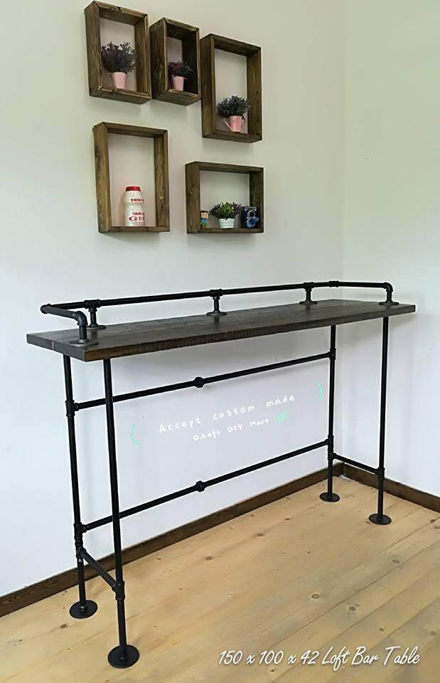 150cm Steampunk Loft Retro Style Hard Wood Bar Table Industrial Piping Legs By D-Loft Furniture.