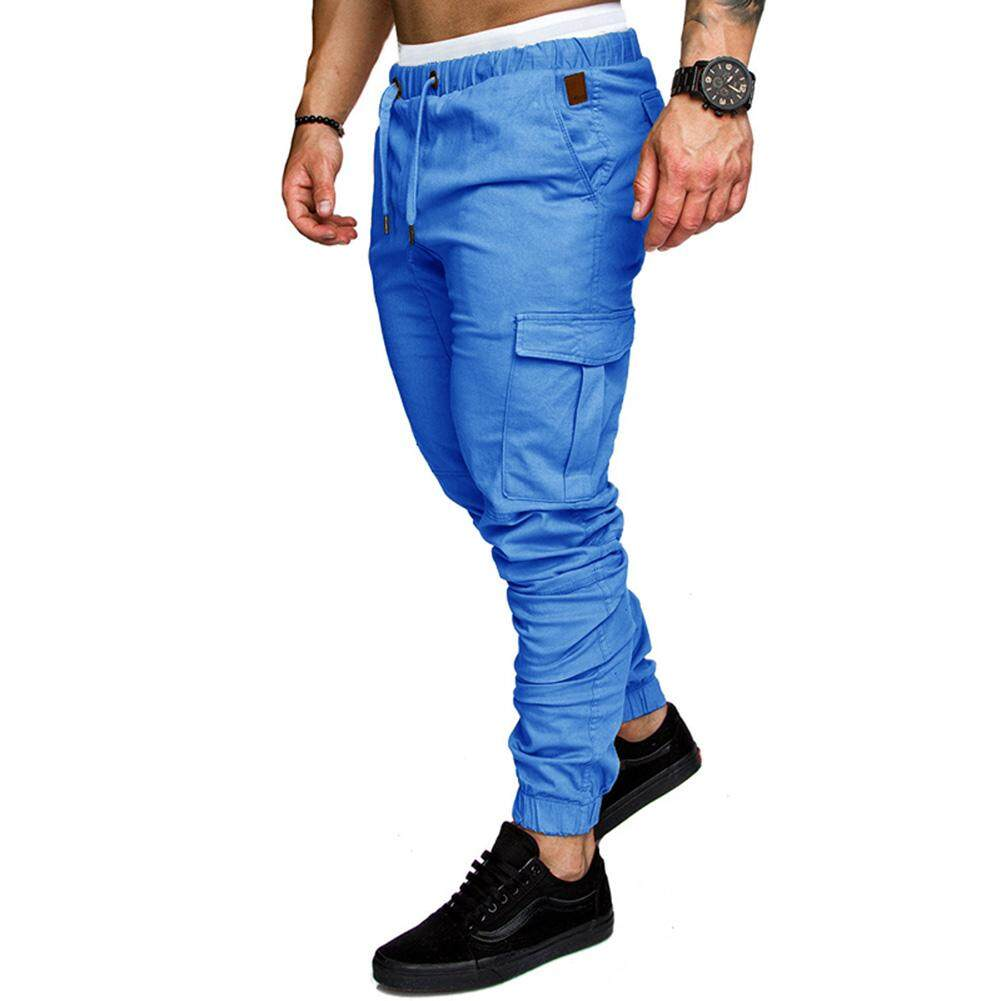 Coromose Men Fashionable Drawstring Solid Color Elastic Pants Casual Sports Trousers By Coromose.