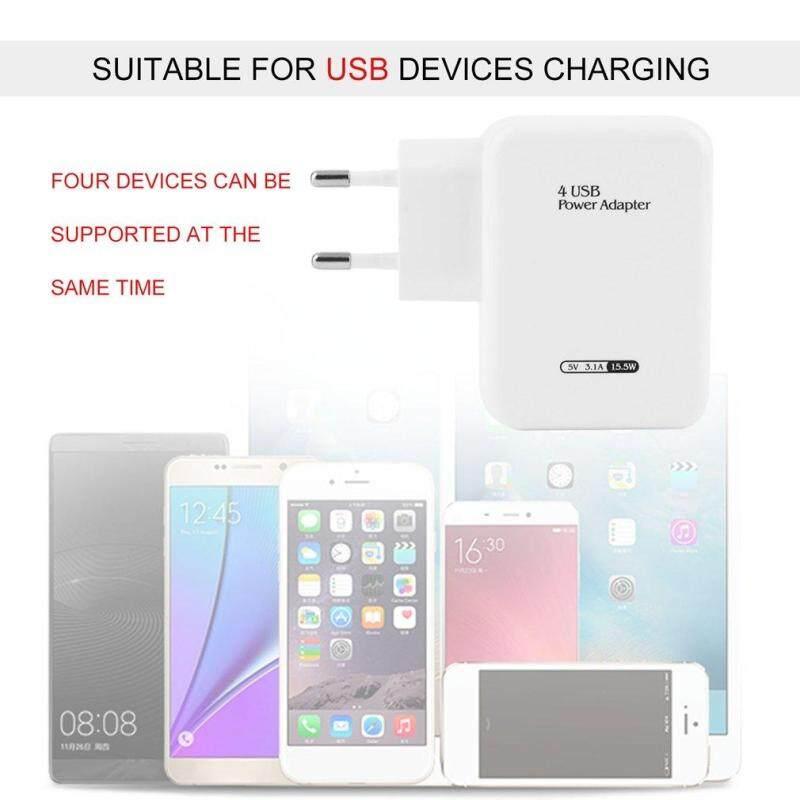 4 Ports USB HUB Power Adapter Wall Home Travel Charger For Smart Phone(EU Plug) - intl