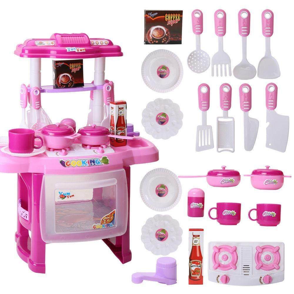 Big Kitchen Cook Set With Music And Light For Kids Toy Cooking Play Set Pink