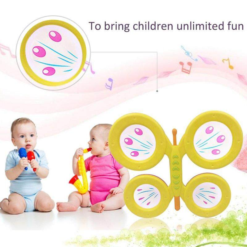 Ubestpom Orffworld Butterfly Drum Plastic Cartoon Drum Kids Musical Instrument Toy