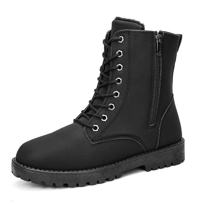 Martin Boots Men's Boots Warmth High Side Zipper Cotton Boots Autumn Winter New Cross Border Men's