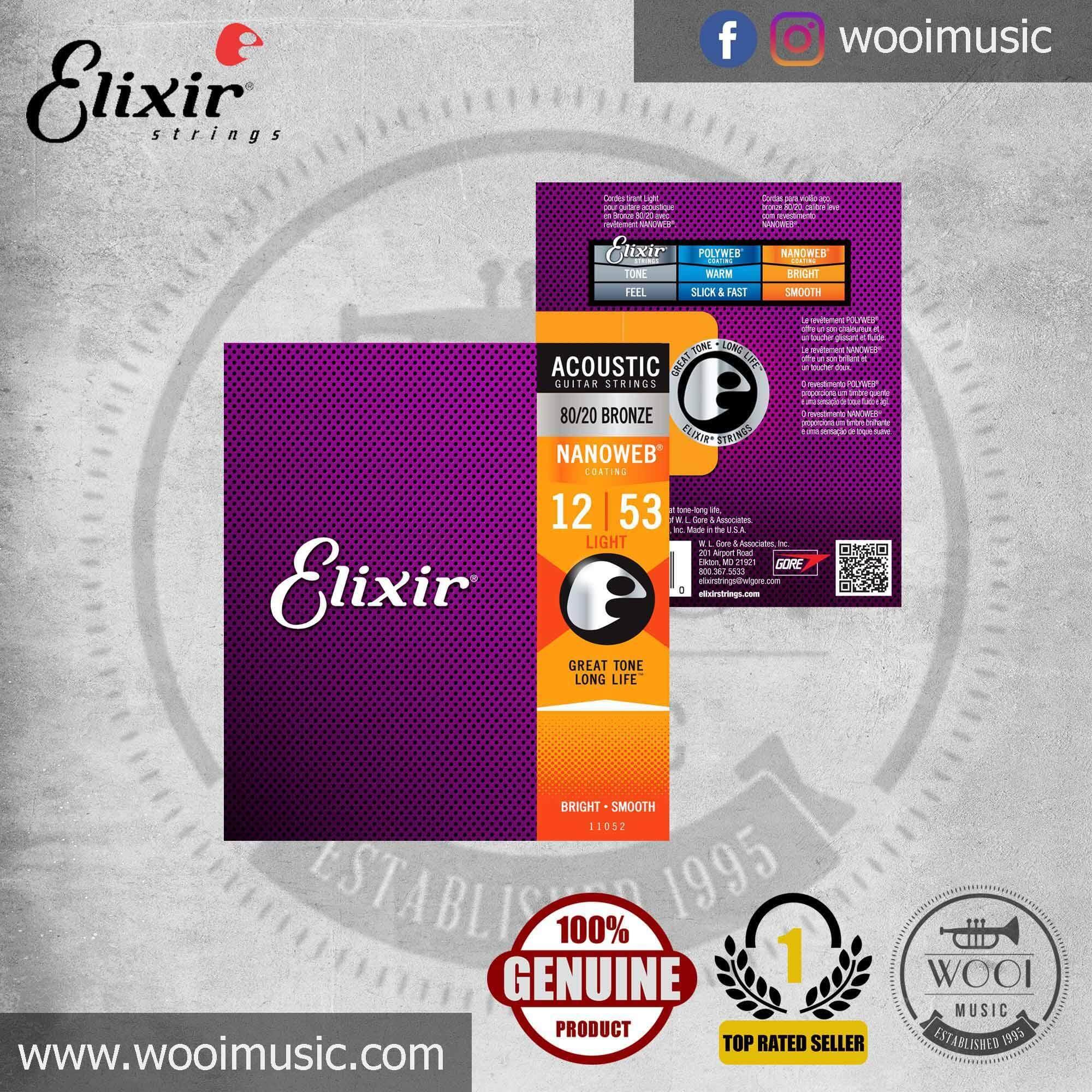 Elixir 11052 Acoustic Guitar Strings 80/20 Bronze Light with NANOWEB Coating (012-053)