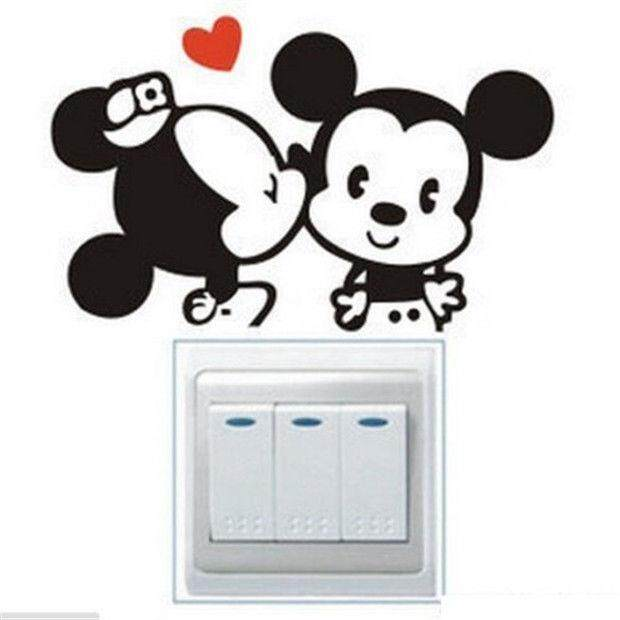 DIY Cartoon Mouse Light Switch Funny Wall Decal Vinyl Stickers 1pc