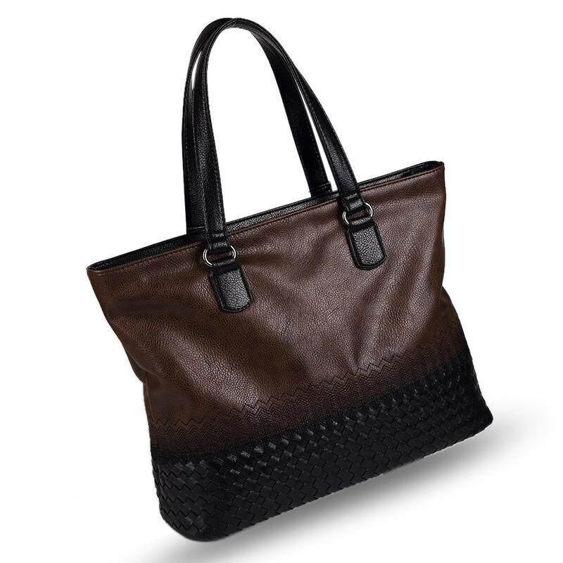 Korean embroidery retro bag mens handbag mens bag woven bag multi-function bag - Brown