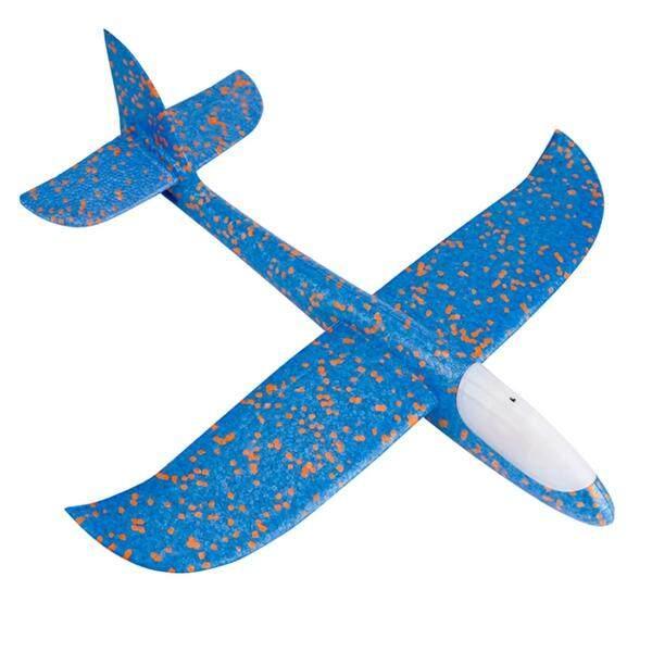 Model Pesawat Terbang Manual Melemparkan Keriting Terbang Glider Busa Pesawat dengan Lampu LED Di Pesawat Kepala