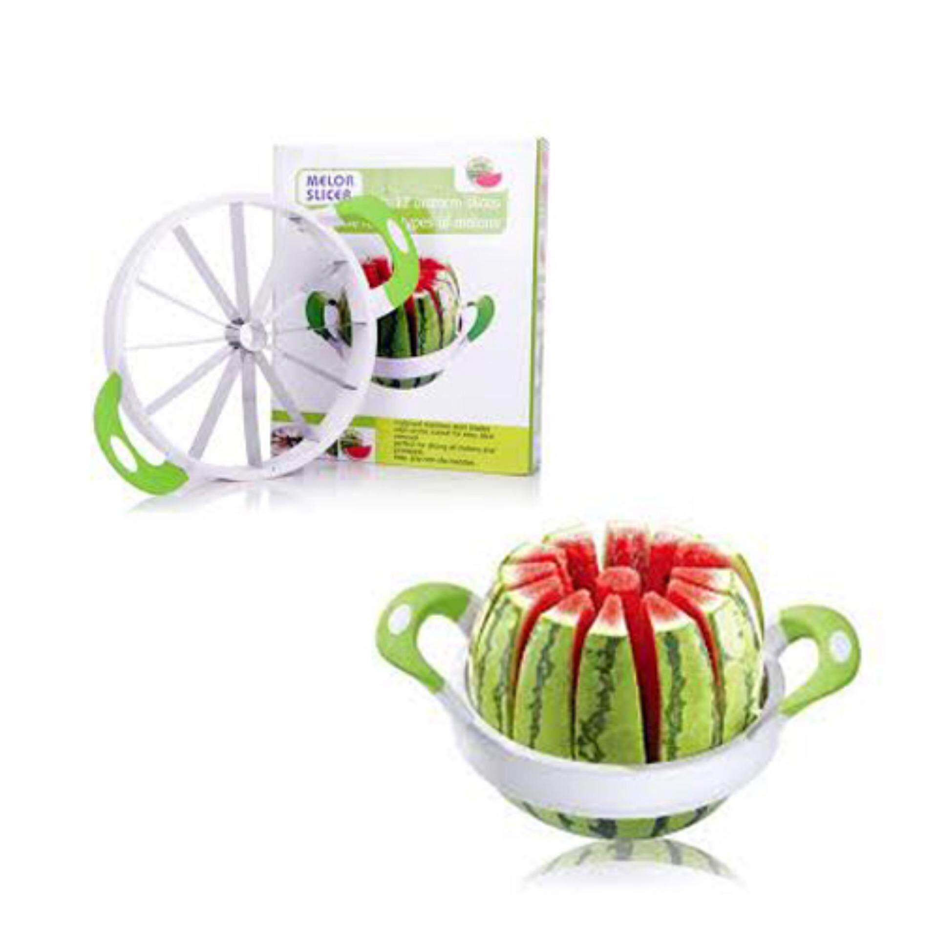 Watermelon Slicer Diameter Large Stainless Steel Fruit Cantaloup Melon Apple Slicer Cutter Peeler Corer Server for Home