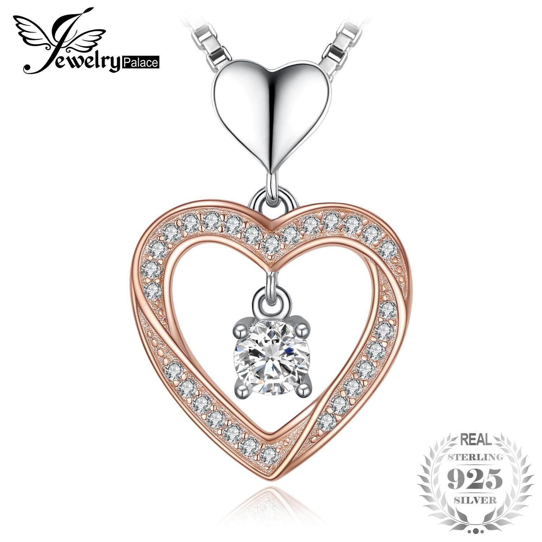 Jewelrypalace Swirl Heart 0.6ct Cubic Zirconia จี้ 925 เงินสเตอร์ลิงทองคำสีกุหลาบไม่มีห่วงโซ่ By Jewelrypalace.
