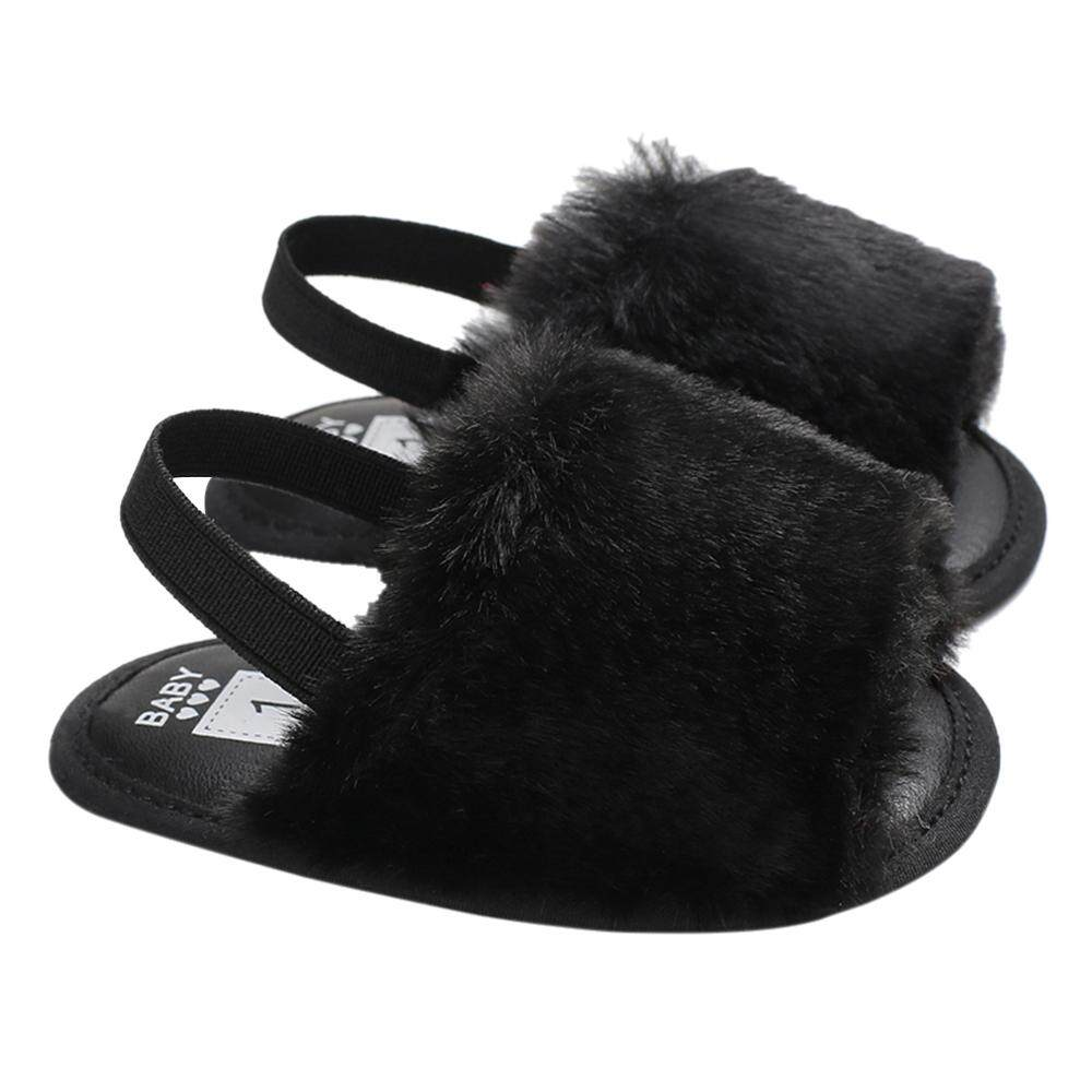 0a5bbe5e566 Baby Girls Faux Fur Slide Sandal Fluffy Slippers With Back Strap Soft Sole  Non-Slip
