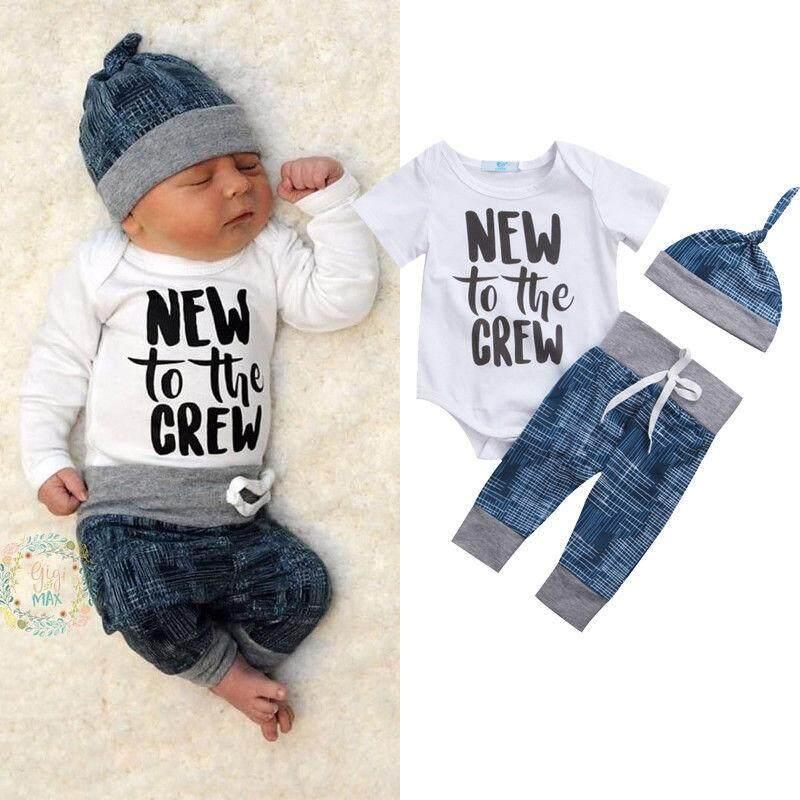 77c014cddff Newborn Baby Boy Girl Clothes Jumpsuit Romper Bodysuit +Long Pants +Hat  Outfit