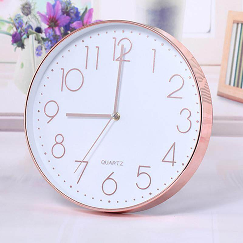 Modern Wall Clock,12 Inch Large Decorative Universal Silent Indoor Quartz Round Wall Clock Non-ticking for Living Room Office Kitchen(Rose gold) Free Shipping