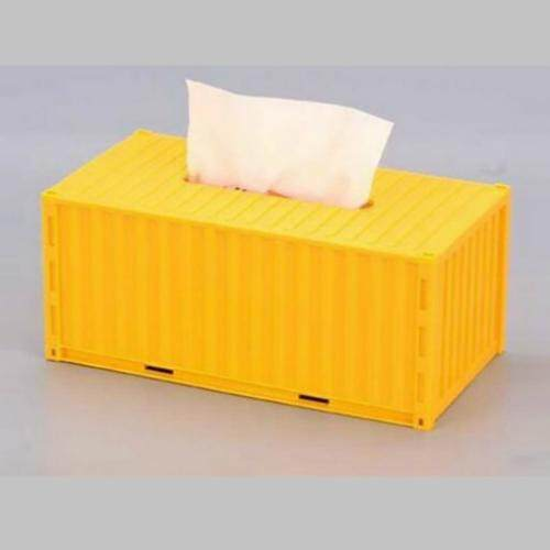 Shipping Container-Shaped Tissue Box Holder (Yellow)