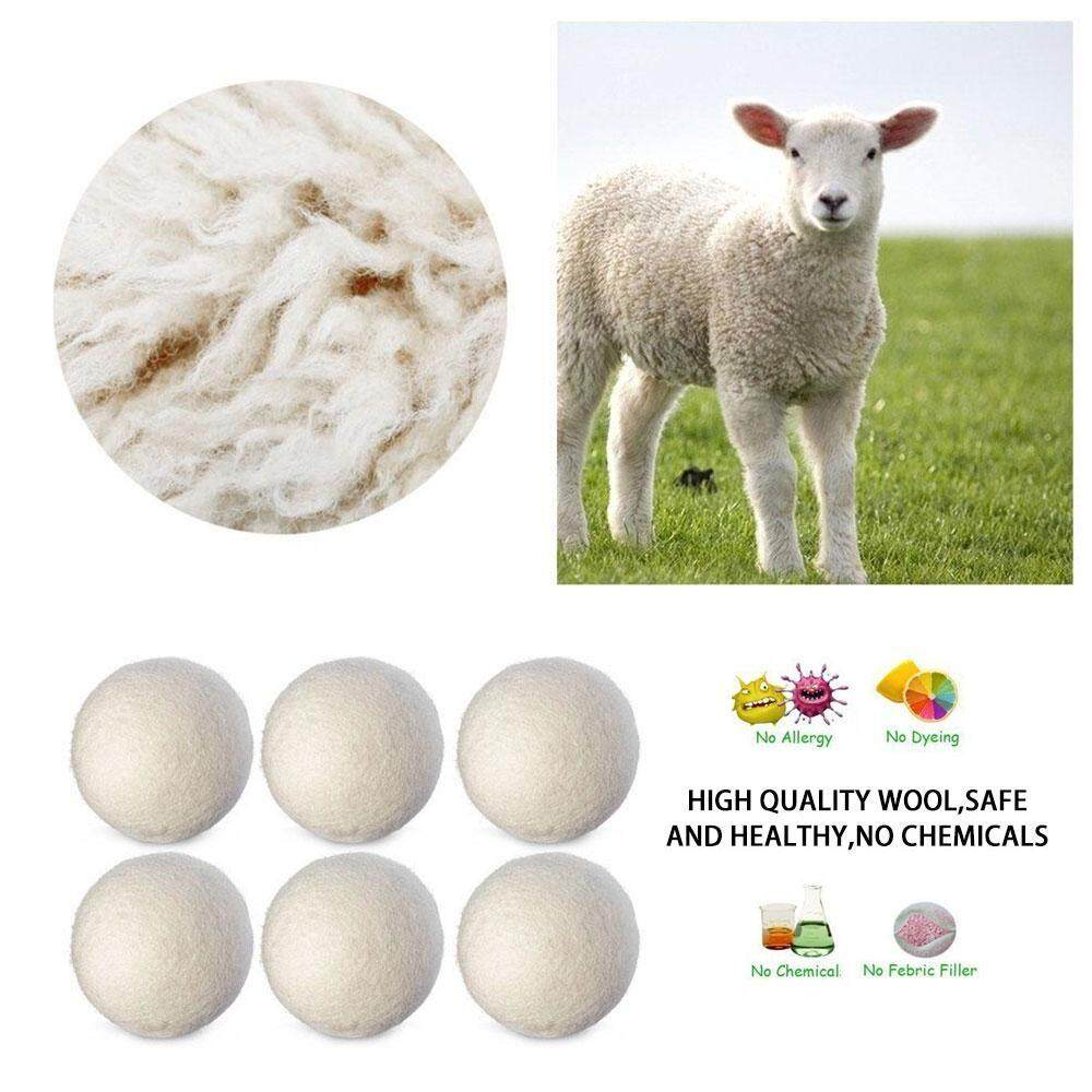 Aolvo 6Pcs/SET Natural Reusable Laundry Clean Ball Practical Home Wool Dryer Balls - intl