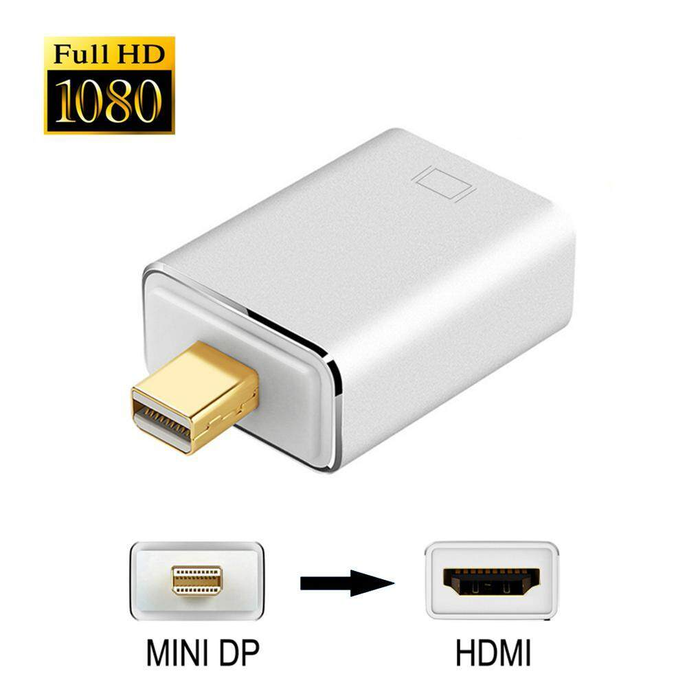 Niceeshop [Aluminium Aloi Shell] Mini Port Layar Ke Adaptor HDMI Berlapis Emas DP Mini (Petir) ke HDMI 1080 P Converter, Macbook Pro, Macbook Air, Monitor dan Banyak Lagi