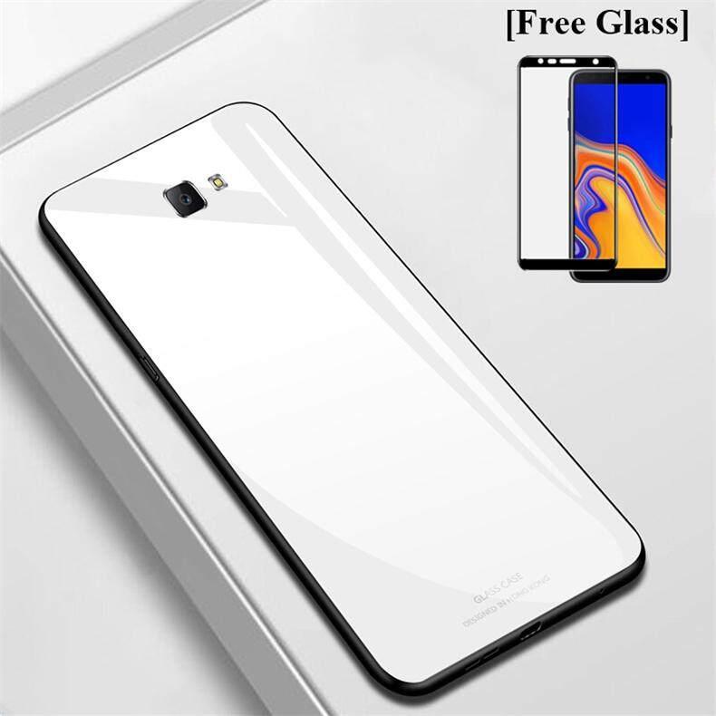 [Gratis Kaca] untuk Samsung Galaxy J4 Plus Case J4 + 2018 Casing Ponsel Ultra Tipis Slim Kaca Antigores Shell Anti-Gores keras Kembali Casing Penutup Aksesoris Samsung J4 PLUS