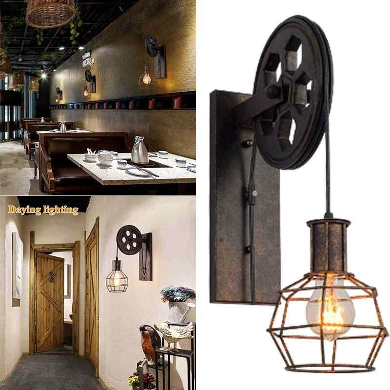 ailsen Vintage Mural Pulley Lamp Metal Cage Industrial Style Wall Mount Lamp - intl