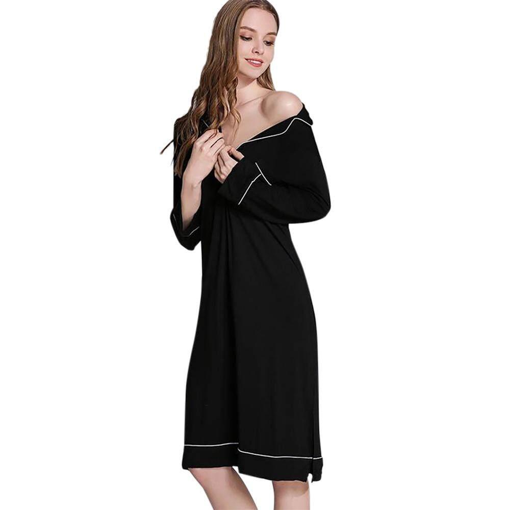 c5eee0b2ec Women Pajamas Sleep Shirt Dress Long Sleeve V-neck Sexy Nightwear Sleepshirt  Mid-length