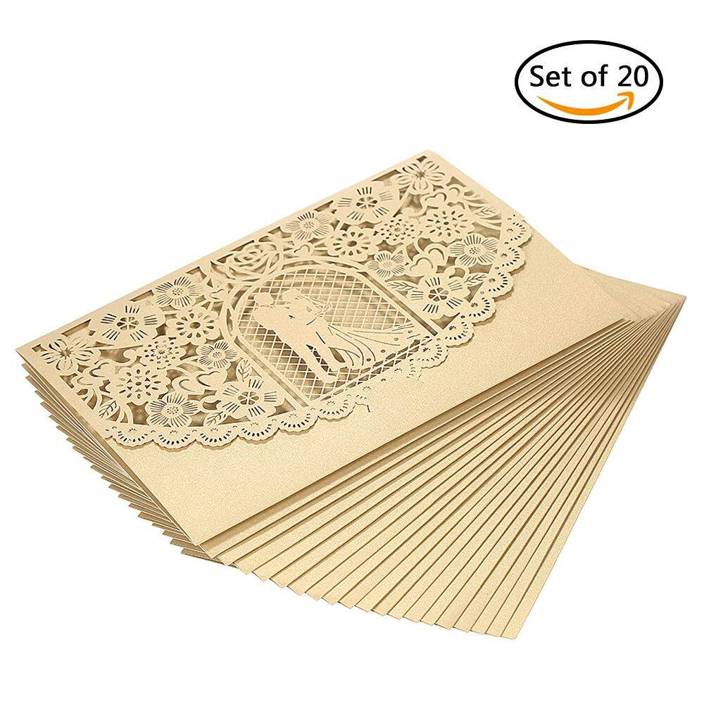 Invitation cards for sale party cards online brands prices 20pcsset wedding invitation card cover pearl paper laser cut bridal bridegroom pattern invitation cards stopboris Image collections
