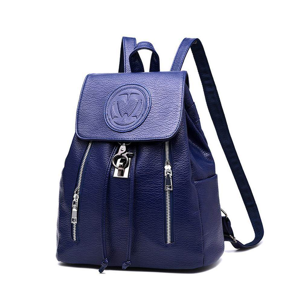 Teekeer High Quality PU Leather Women Backpack Fashion Solid School Bags For Teenager Girls Large Capacity