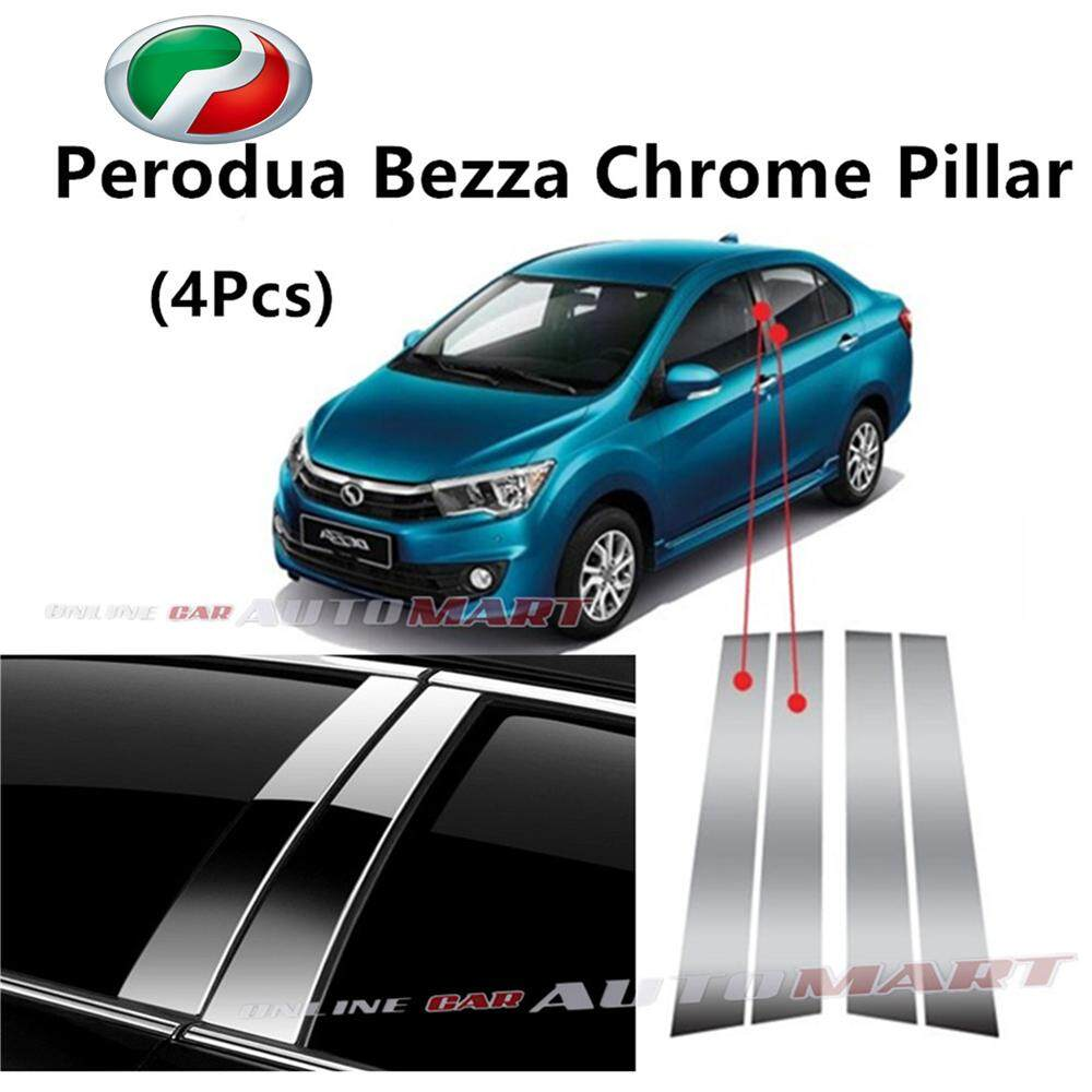 Perodua Bezza- Car Chrome Door Window Pillar Trim Panel Chrome Stainless Steel (1 Set)