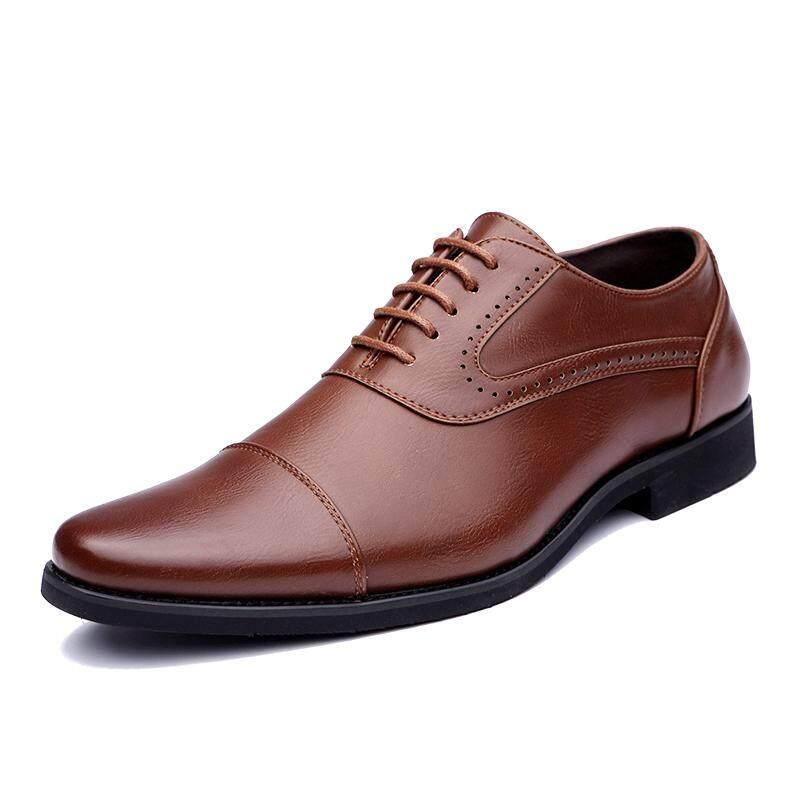 Kailijie Sandal Bakiak Pria Besar Ukuran Kulit Tutup Ujung Kaki Oxford Formal Bisnis Gaun Sepatu Hitam