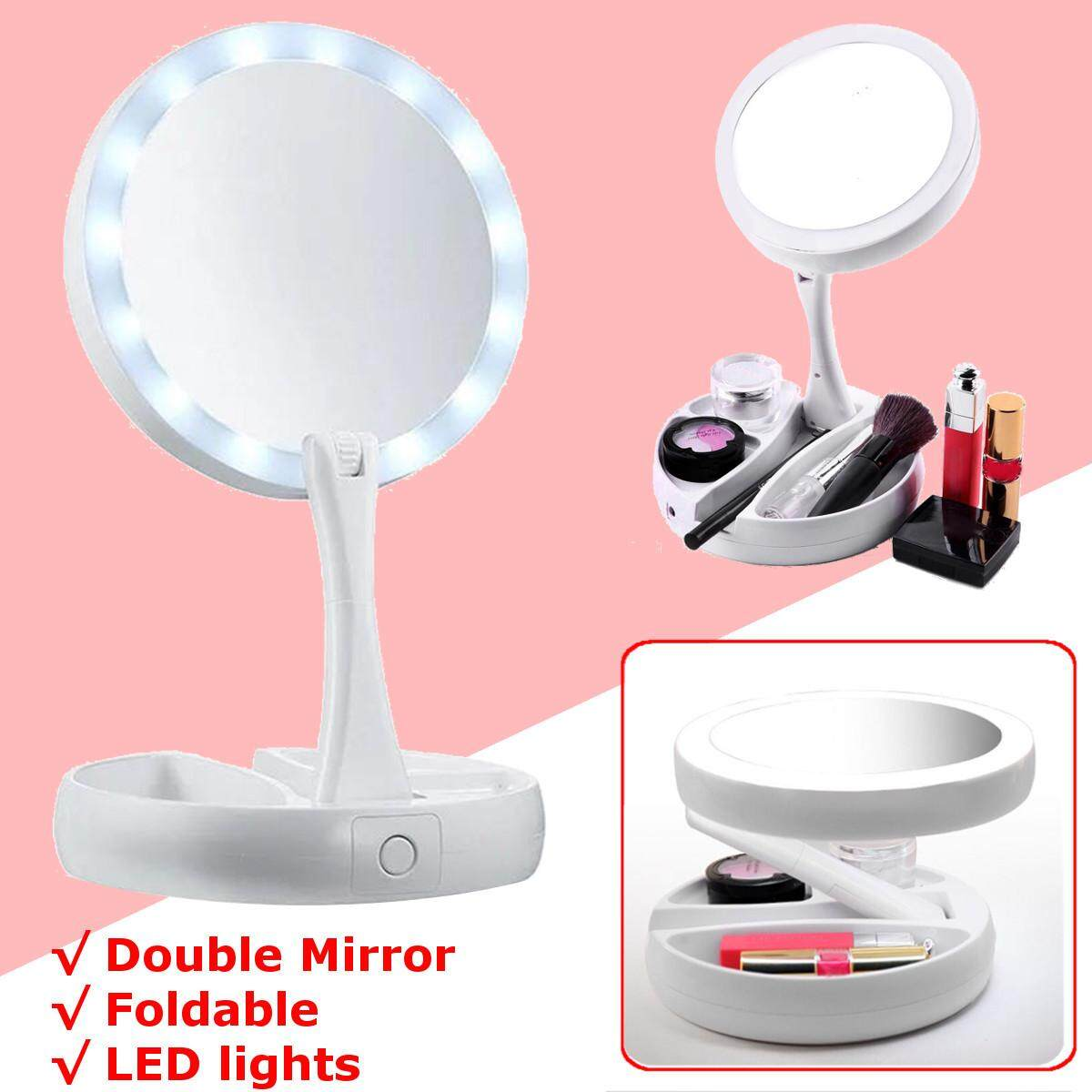 My Fold Away Mirror LED-illuminated Double Sided 10x magnification Makeup Mirror