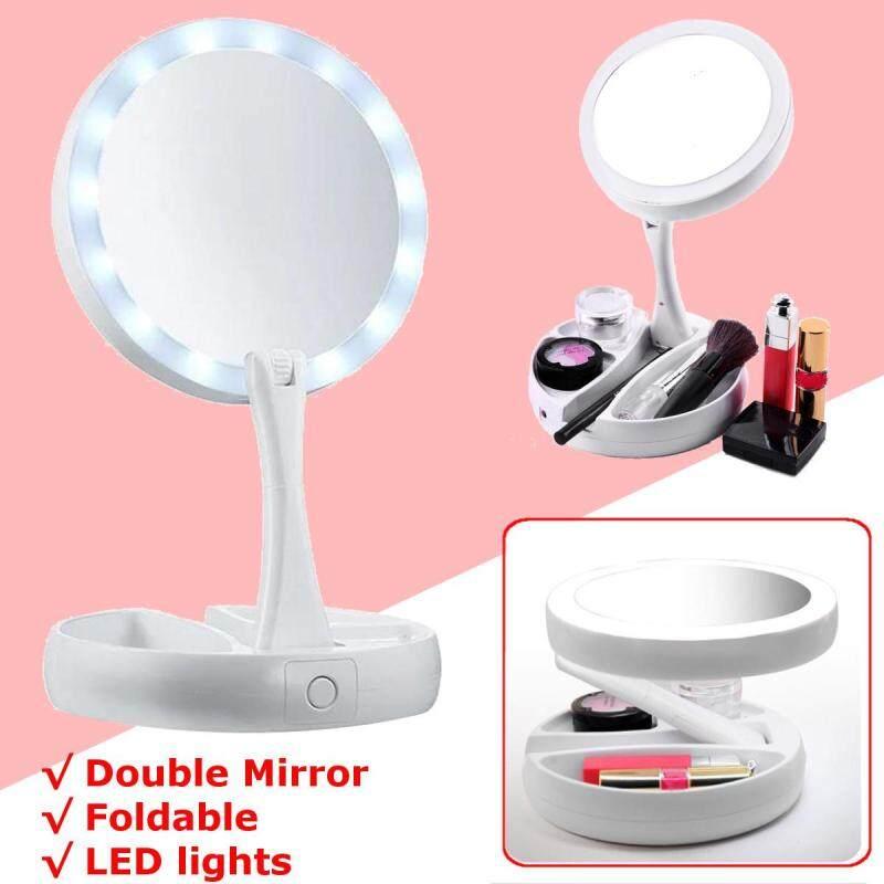 Tôi Gấp Gọn Cất Đi Gương ĐÈN LED-Chiếu sáng 2 Mặt 10x Độ phóng đại Gương Trang Điểm
