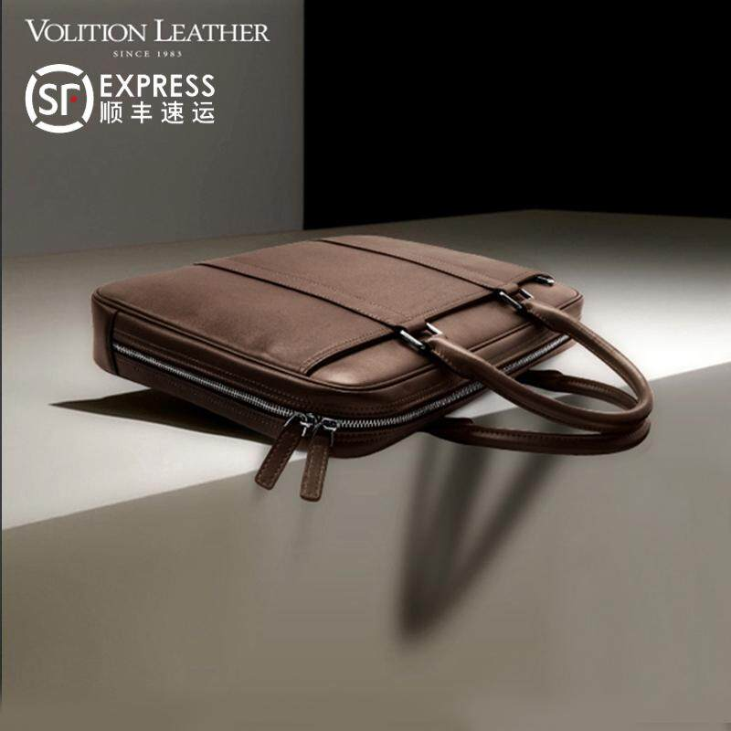 Volition Briefcase Male Business Handbag Cross One-Shoulder First Layer Leather Business Package Mens Bag Leisure