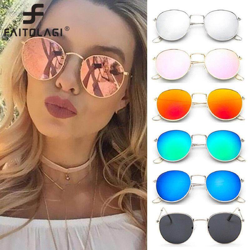 5ee28e212b Women Retro Fashion Aviator Mirrored Round Lens Oversized Sunglasses Eye  Glasses(Pink)