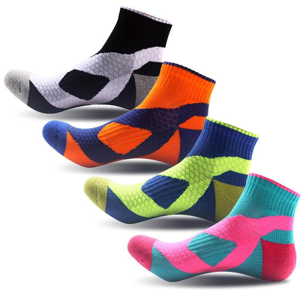 4 Pairs Sport Socks Breathable Thick Socks Outdoor Running Basketball Cycling Anti-Sweat For Man Specification:four Colors Assorted By Outdoor Lizard.