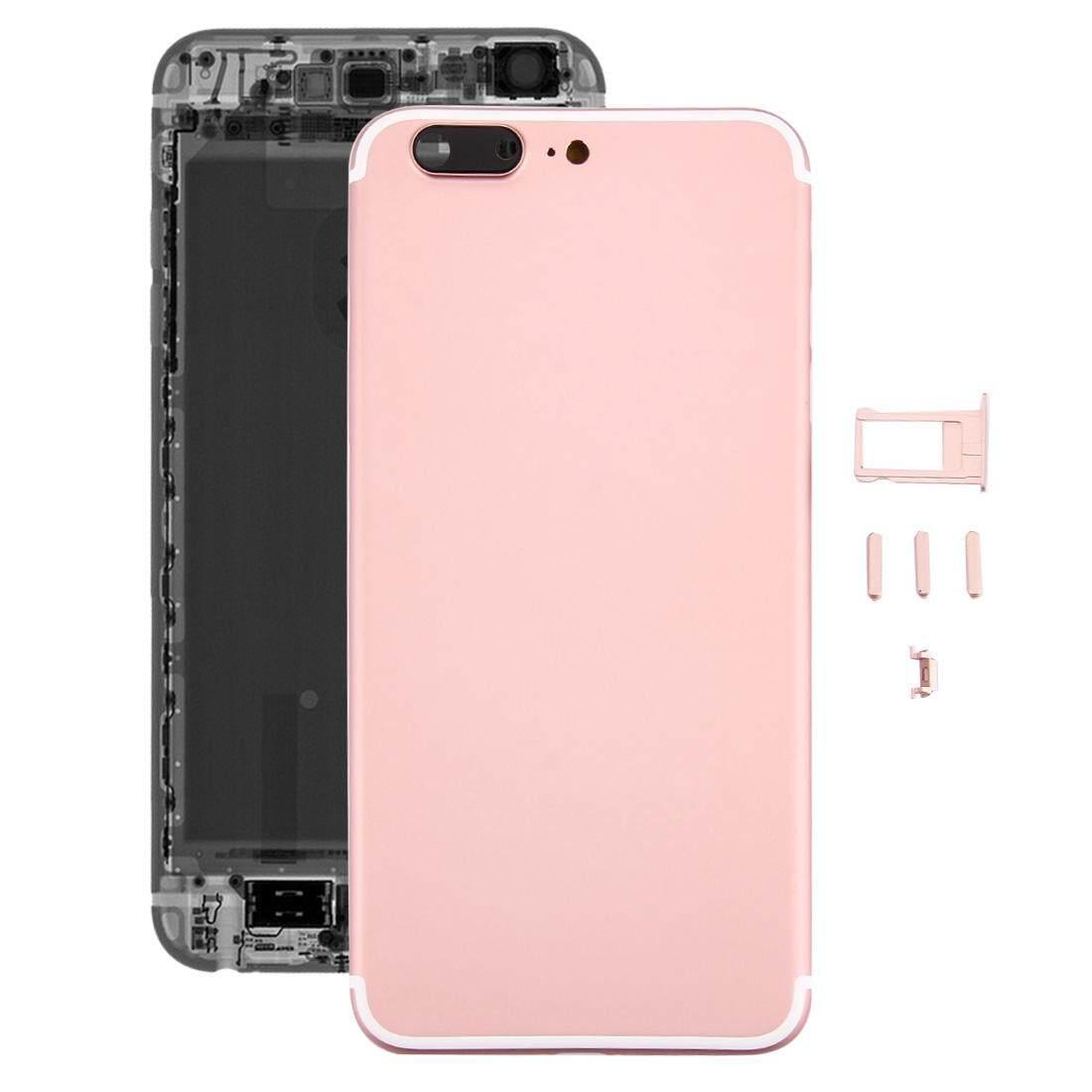 5 Dalam 1 Penuh Assembly Logam Kerangka Penutup dengan Penampilan Imitasi iPhone 7 Plus untuk iPhone 6 Plus, termasuk Sampul Belakang (Besar Lubang Kamera) & Baki Kartu & Tombol Kontrol & Daya & Saklar Diam Kunci, tidak Headphone Mendongkrak (Mawar Emas)