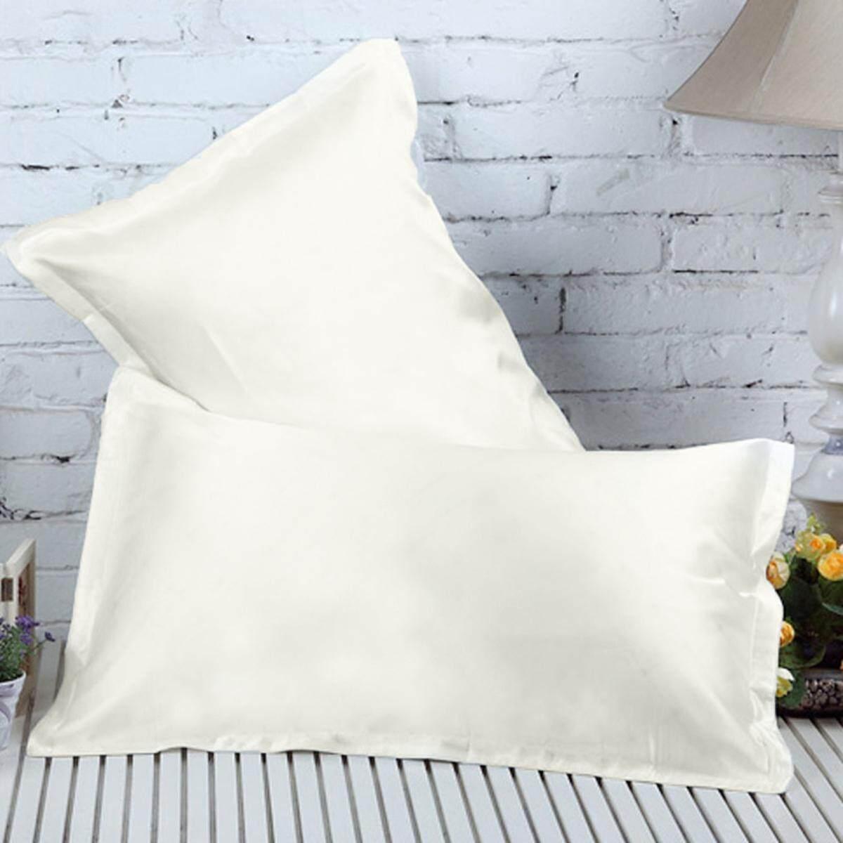 Ivory Silky Soft Charmeuse Silk Pillow Case Beauty Pillowcase Bed Sleep Helper