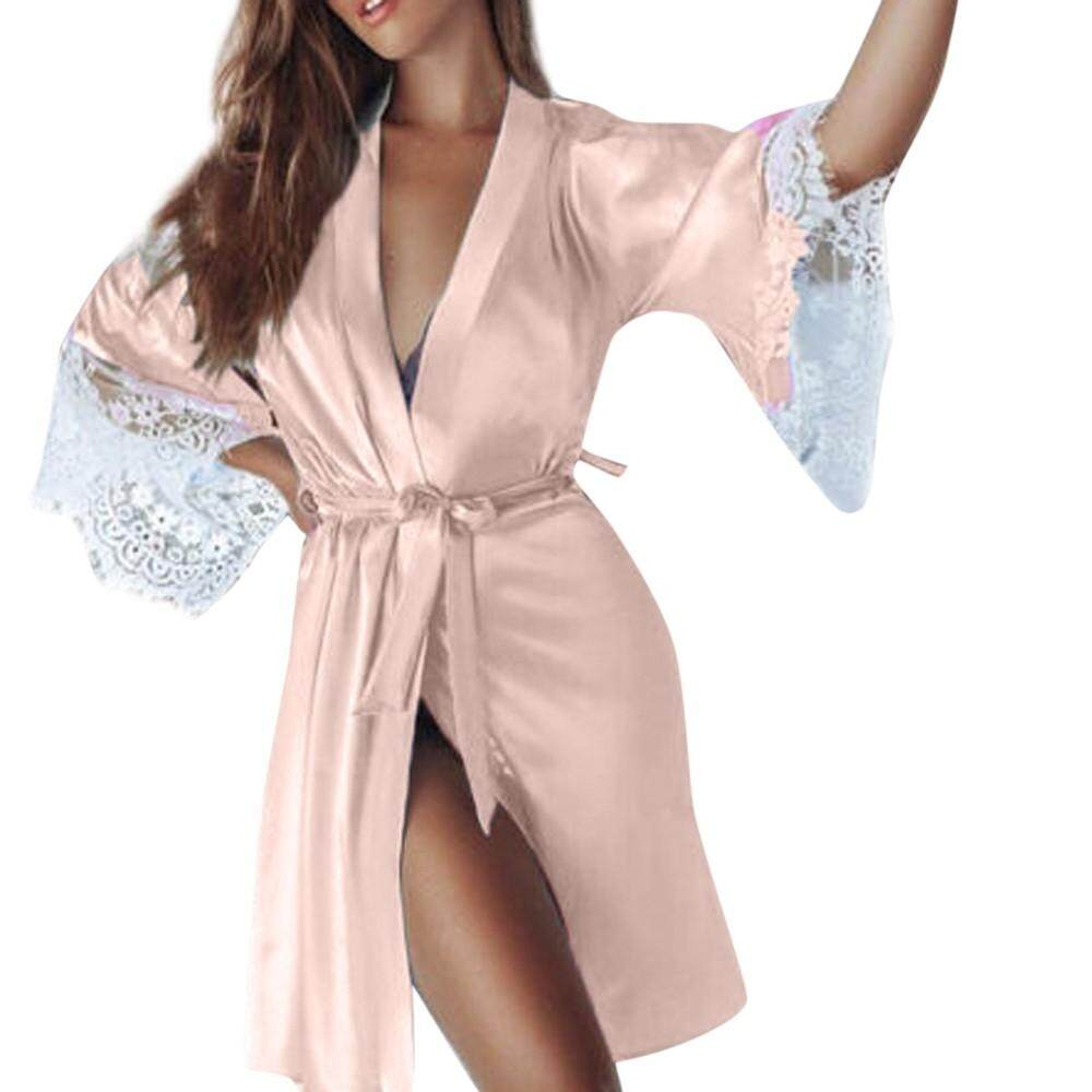 ecf120921e2 Lingerie Sleep Robes Women Sexy Silk Kimono Dressing Babydoll Lace Lingerie  Belt Bath Robe Nightwear