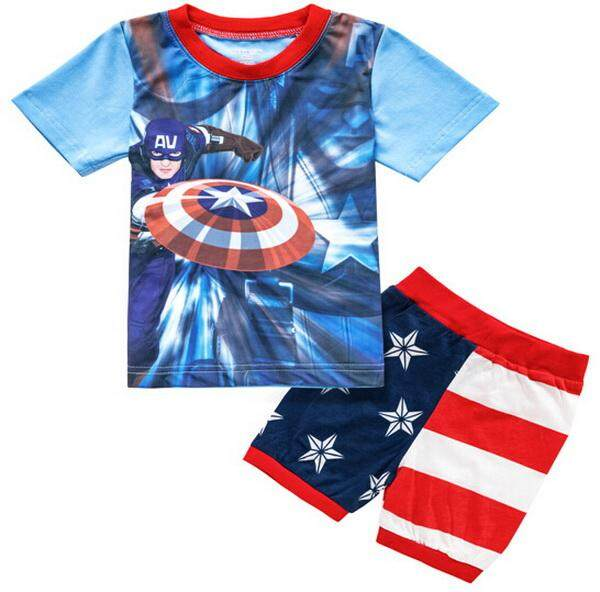 2019 Summer Cartoon Boy Pyjamas Sets Kids Sleepwear Captain America Girls Home Wear Childrens Clothes Boys Pajamas Sets Soft - Intl By Yearkey.