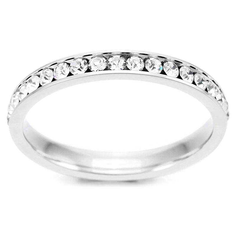 Stainless Steel Ring Eternal Eternity Band Ring Band Cz Cubic Zirconia Zirconia White Wedding White Size Alliances size US10 Women