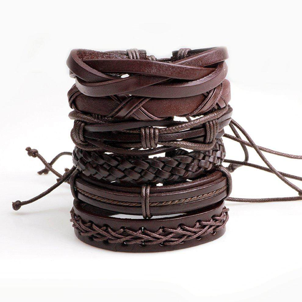 Popo 6pcs/set Multilayer Men Solid Pu Leather Braided Bracelet Best Birthday Gift Coffee By Bulapopo.