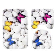 3 Pcs/set Butterfly Batu Kamar Mandi Non-Slip Penyerapan Air Lembut Mat Toilet