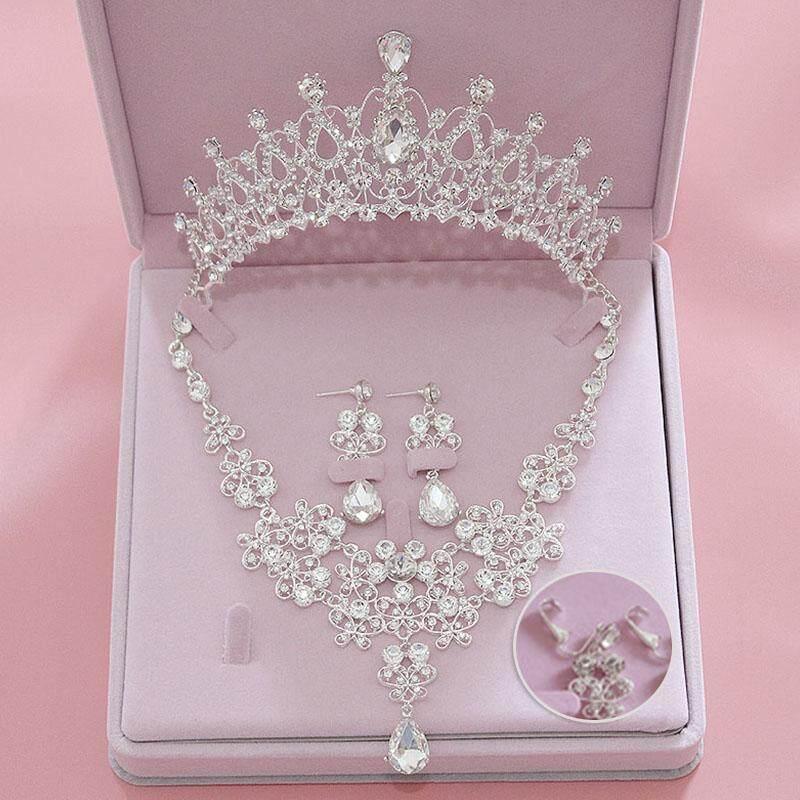 Pengantin Pernikahan Set Anting Kalung Aksesoris Rambut Mahkota Kalung Anting-Anting Vintage Tiara Perhiasan Mahkota