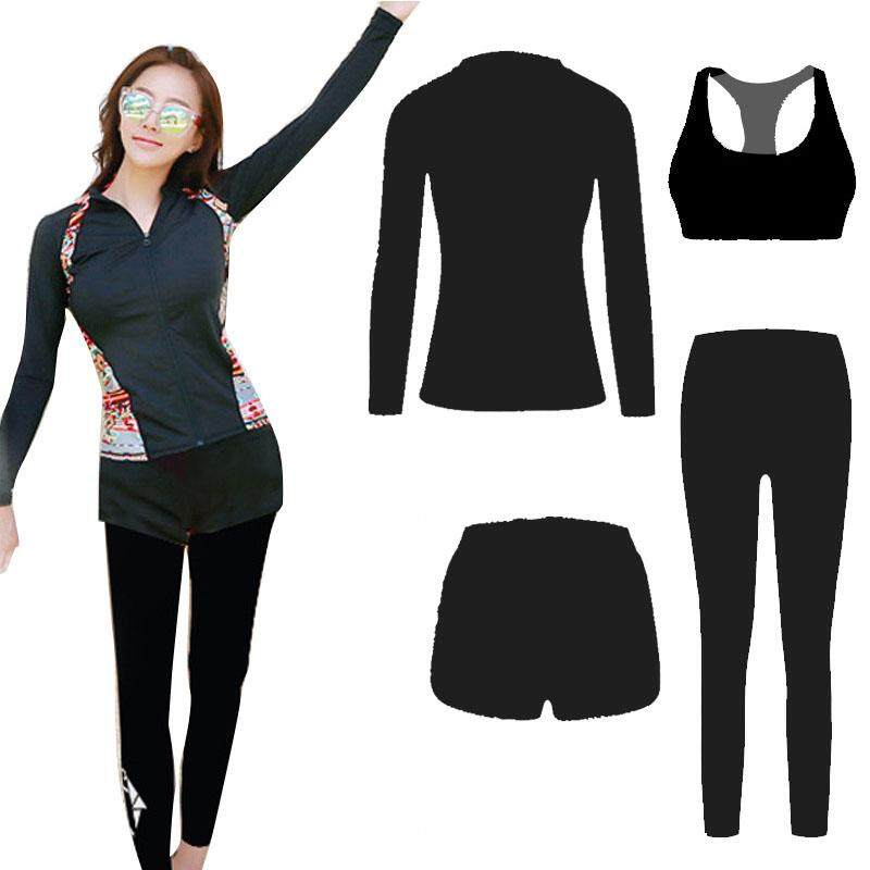 f31b0e6036e (Tops+Vest+Shorts+Pants) Quick Dry women Long Sleeve Swimwear Rashguard