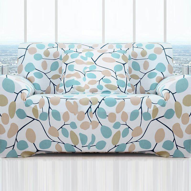 Elasticity Fabric Anti-slip All-inclusive Full Cover-stamp Leaves Printing European Style Universal Sofa Cover